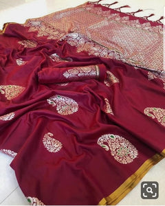 Celebrity Style Red Color Silk Saree with Rich Pallu