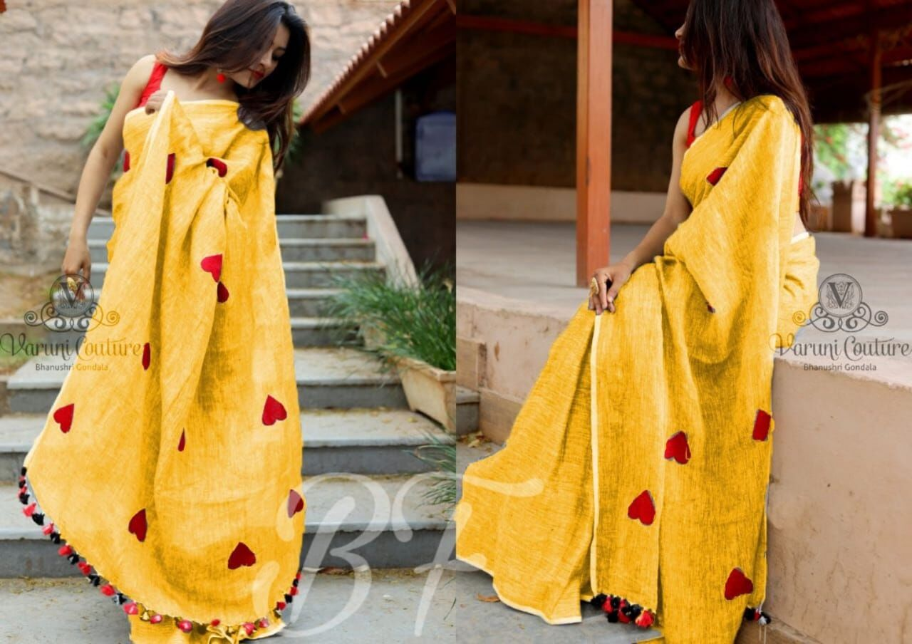 Admirable Yellow Color Banglori cotton Heart Pattern Saree