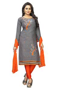 Grey Colour Heavy Embroidered Cotton Silk Salwar Suit