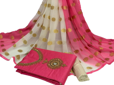 Neurocell Peach And White Modal Chanderi Cotton With Khatali Hand Work Salwar Suit