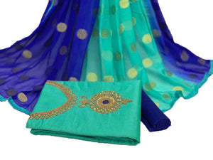 Stunning Sky Blue And Blue Modal Chanderi Cotton With Khatali Hand Work Salwar Suit