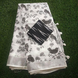 Impressive White And Black Color Pure Linen Designer Saree