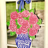 Blue and White Ginger Jar with Cabbage Roses