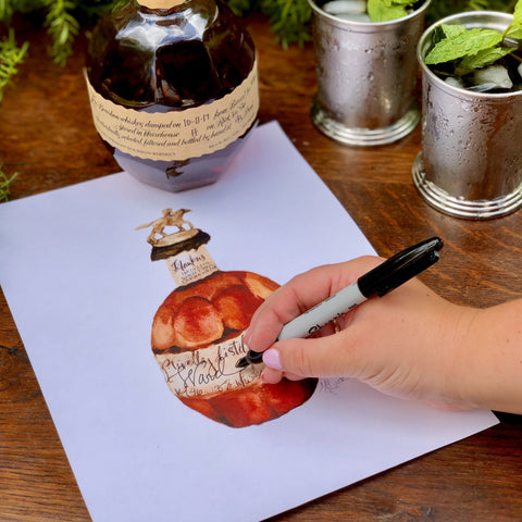 Watercolor Blanton's  Bourbon Bottle by Martha Luck Studios