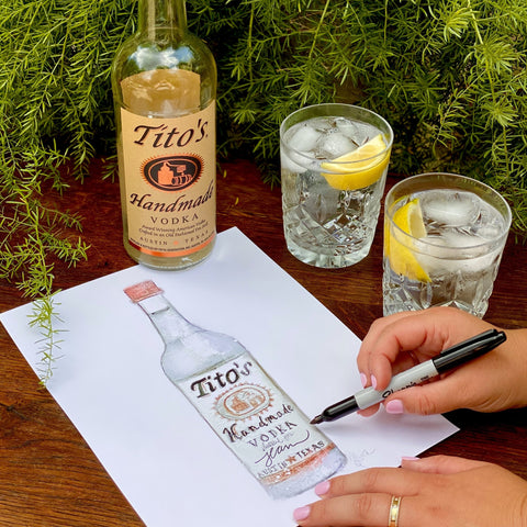 Watercolor Tito's Vodka Bottle by Martha Luck Studios