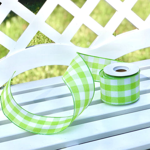 Green gingham wired ribbon
