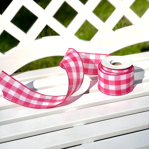 Pink Gingham Wired Ribbon