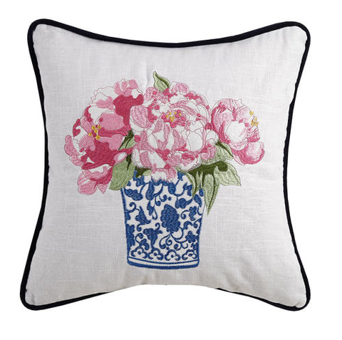 Embroidered Blue and White Vase with Peony Pillow