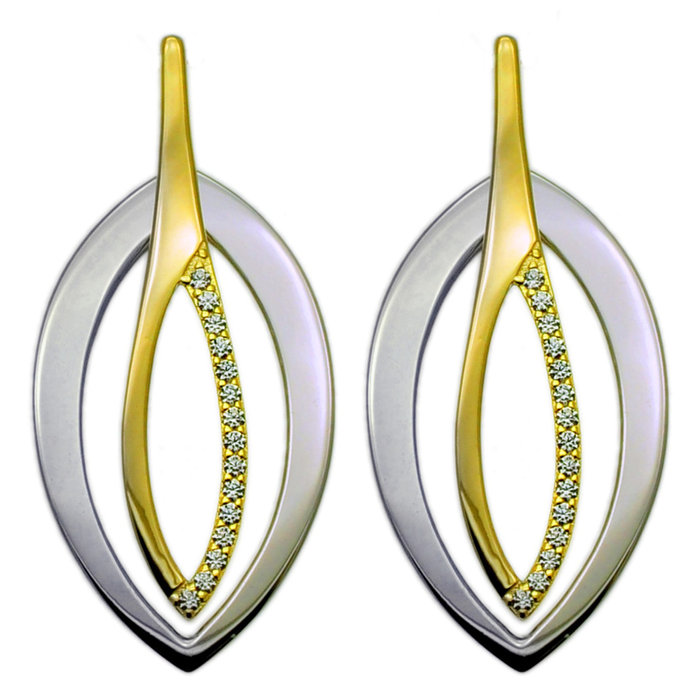 Sleek Modern Silver and Gold Drop Earrings (see matching Pendant JE402)