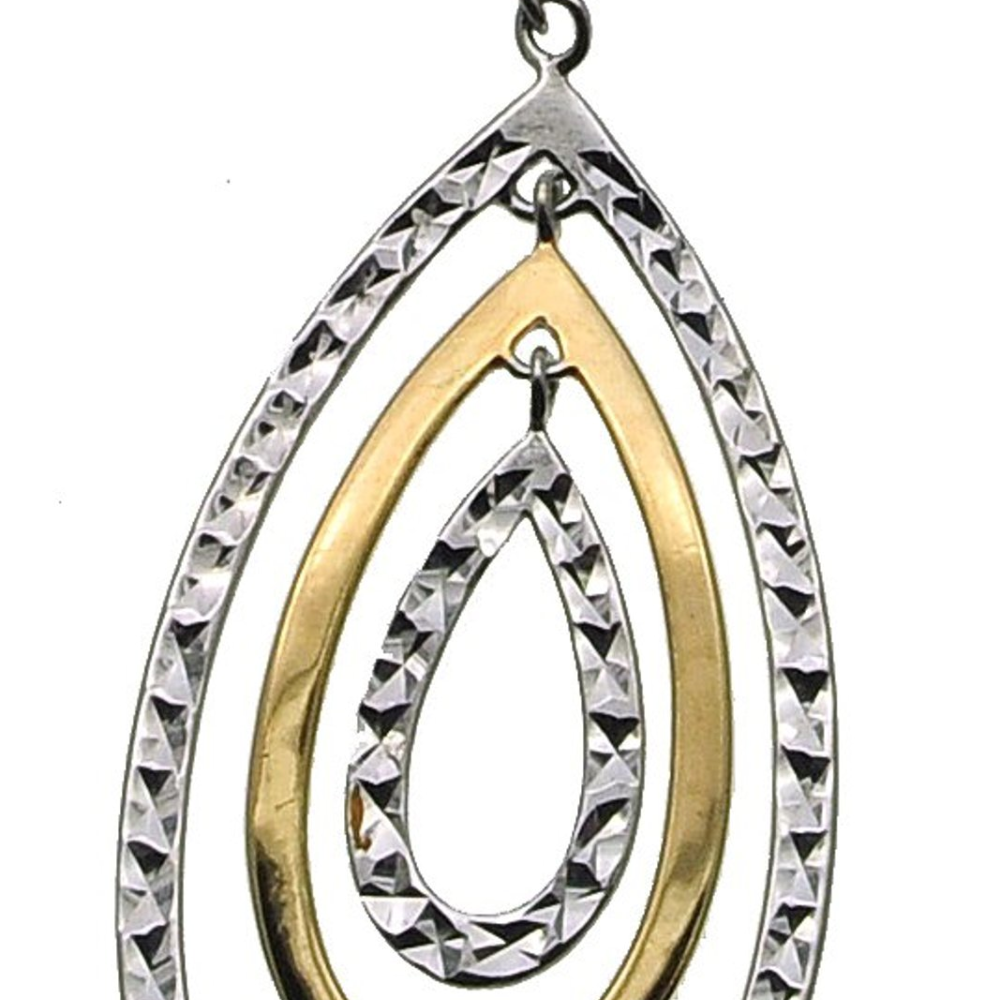 Brilliant Silver and Gold Diamond Cut Pendant (see matching earrings)