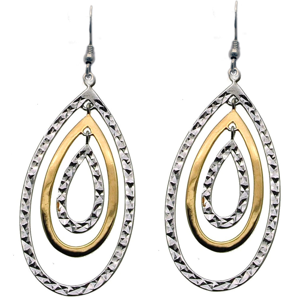 Sleek and Contemporary Silver and Gold Earrings (see matching Pendant)