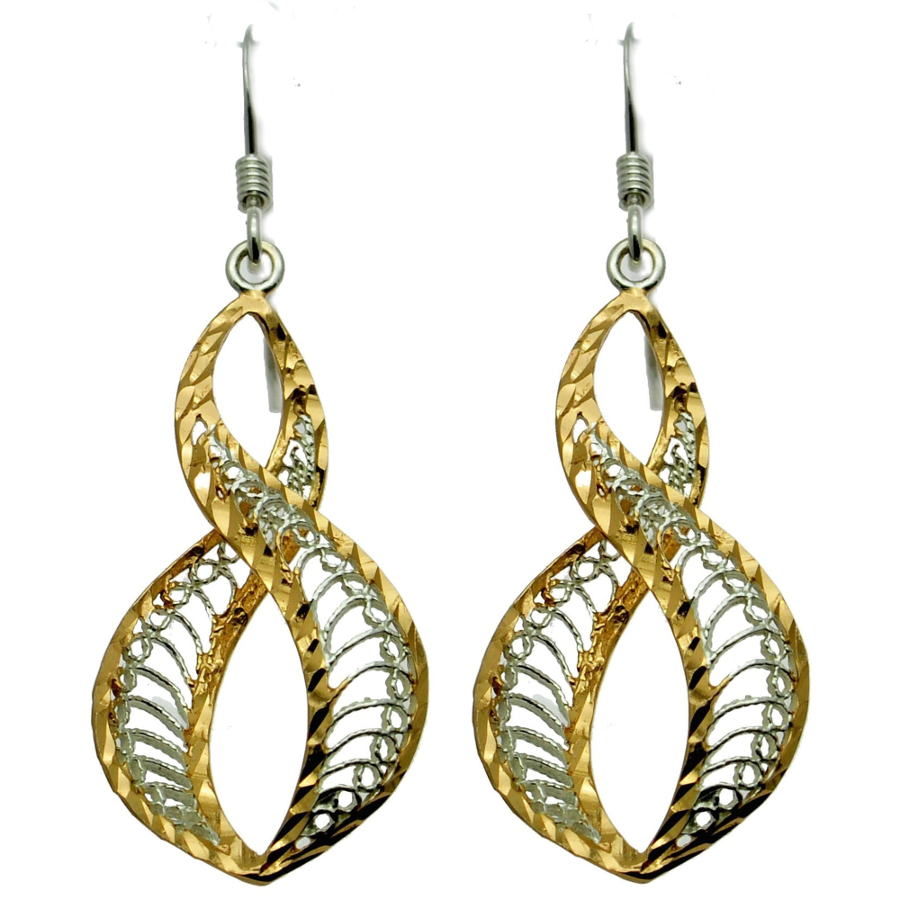 Delicate Silver & Gold Dangle Filigree Earrings (see matching pendant)