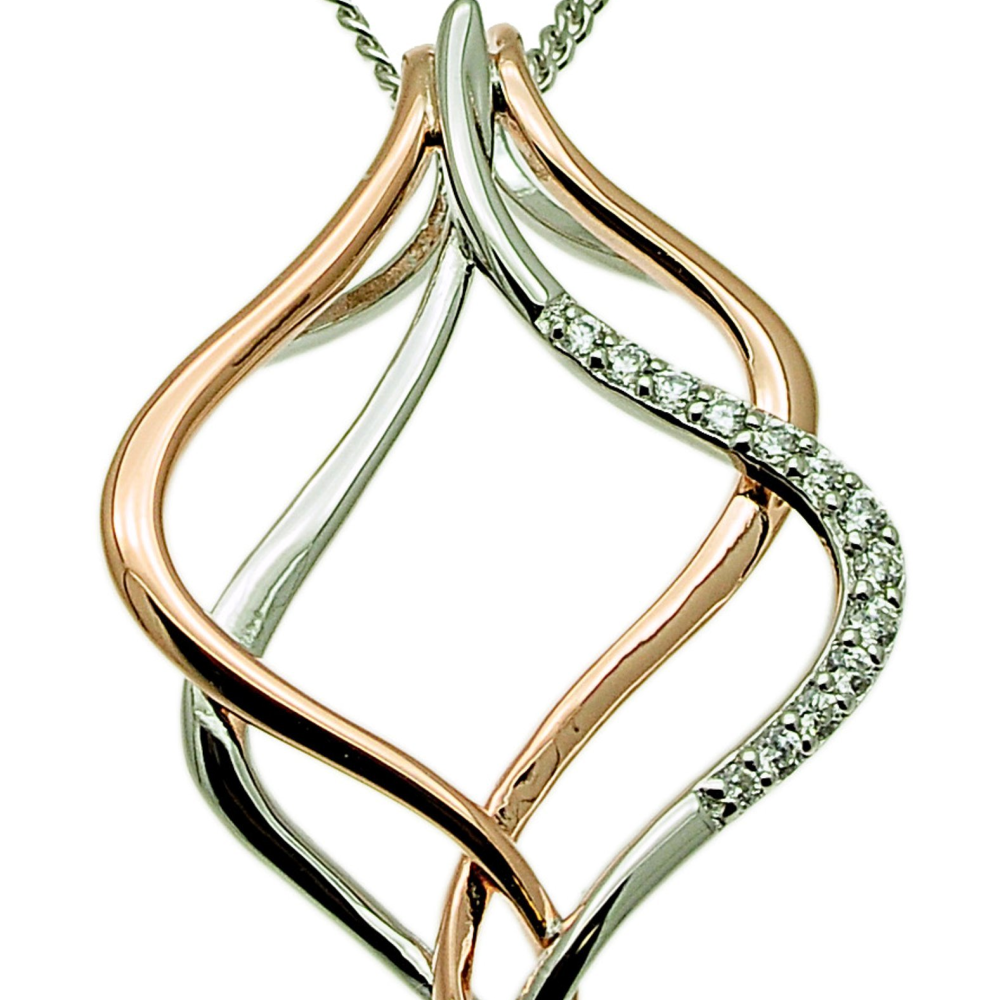 Interlocking Silver and Gold Drop Pendant (see matching earrings JE401)