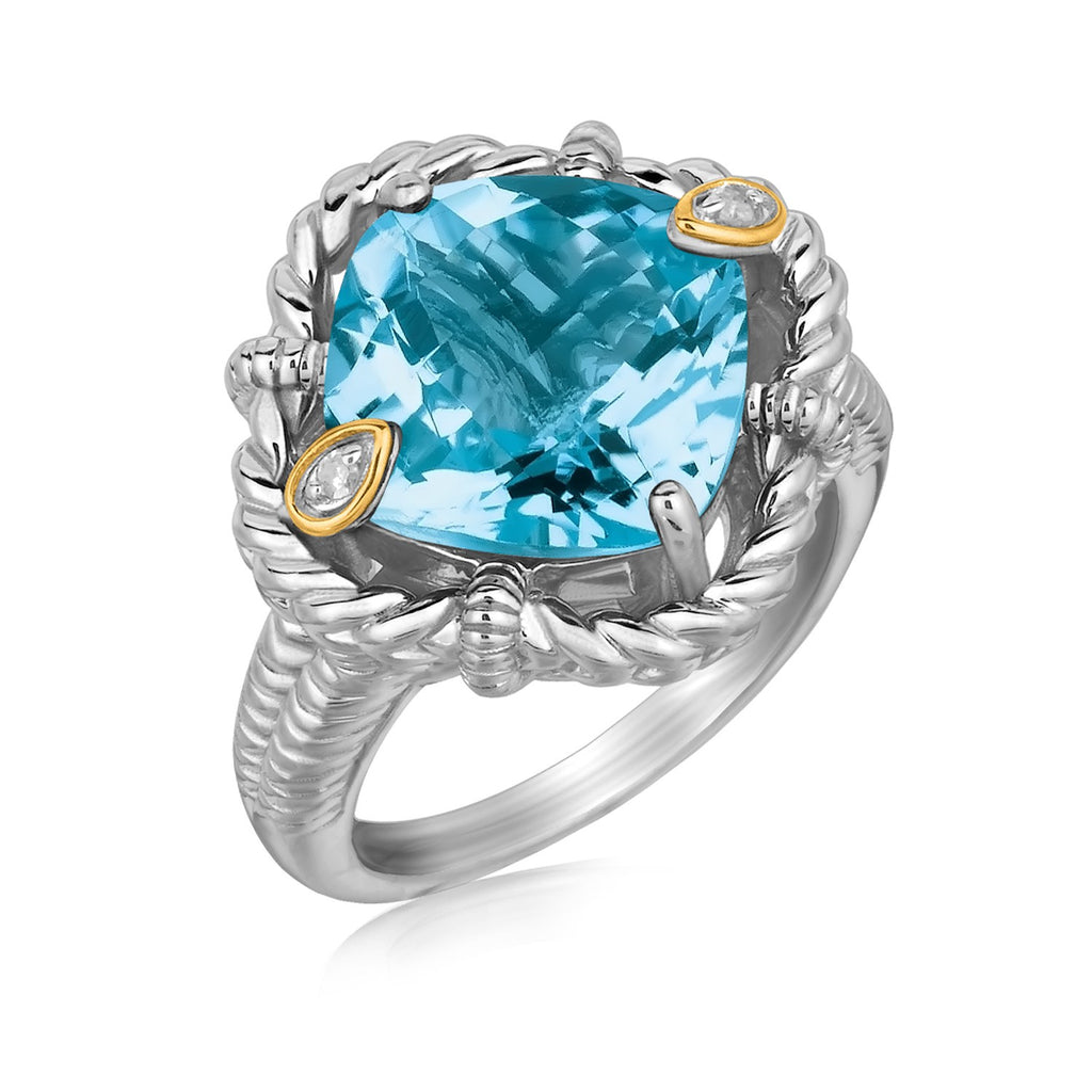 18k Yellow Gold and Sterling Silver Ring with Cushion Blue Topaz and Diamonds