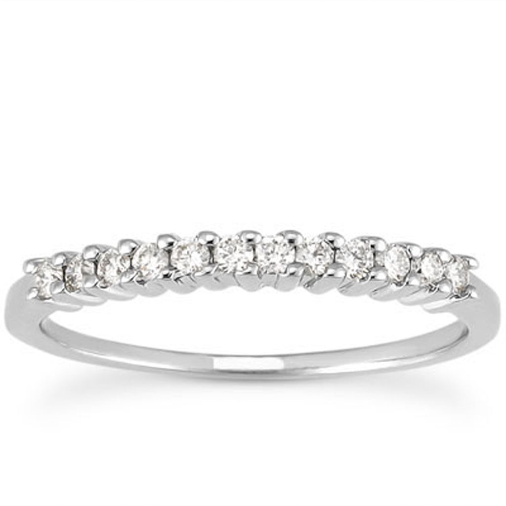 14k White Gold Raised Shared Prong Diamond Wedding Ring Band