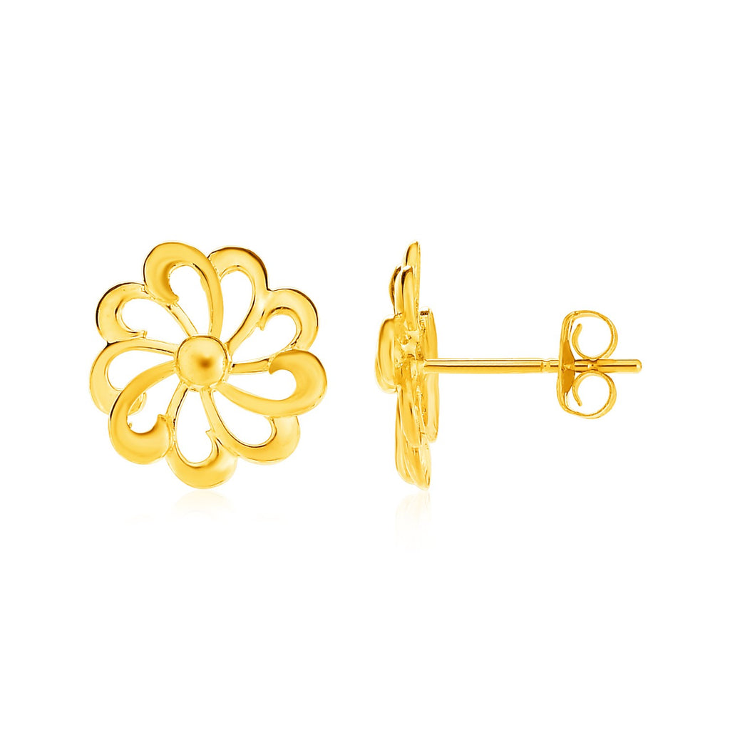 14k Yellow Gold Post Earrings with Flowers