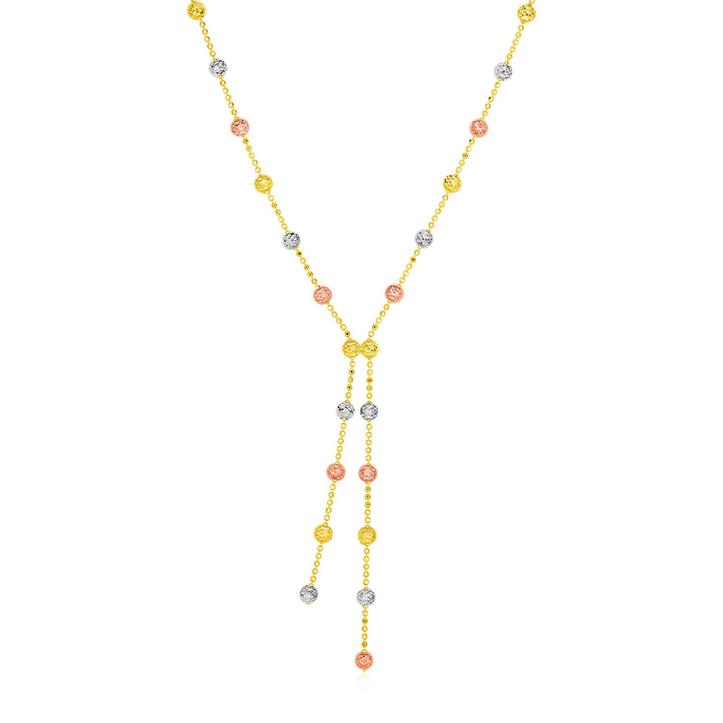 14k Tri Color Gold Lariat Style Station Necklace