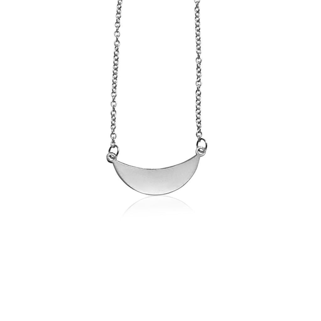14k White Gold 18 inch Necklace with Polished Arc