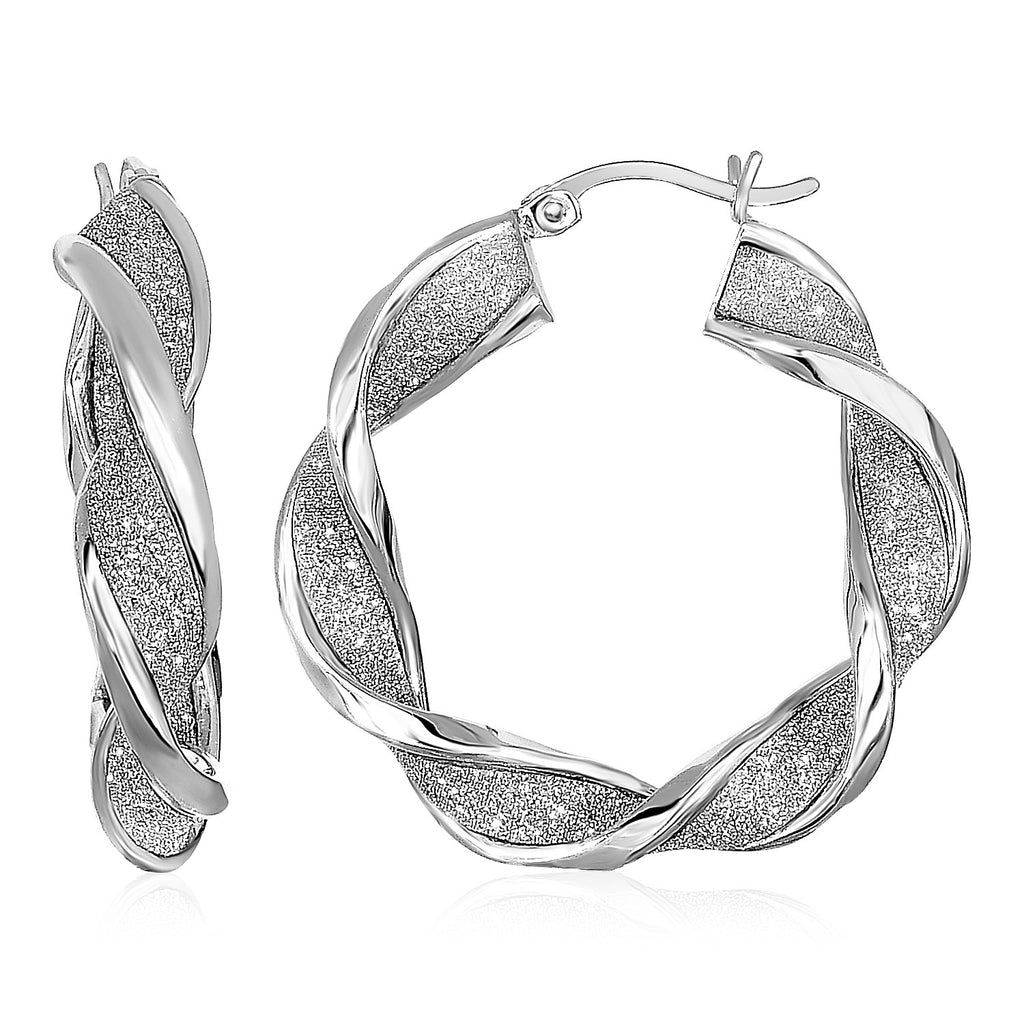 Twisted Glitter Textured Hoop Earrings in Sterling Silver