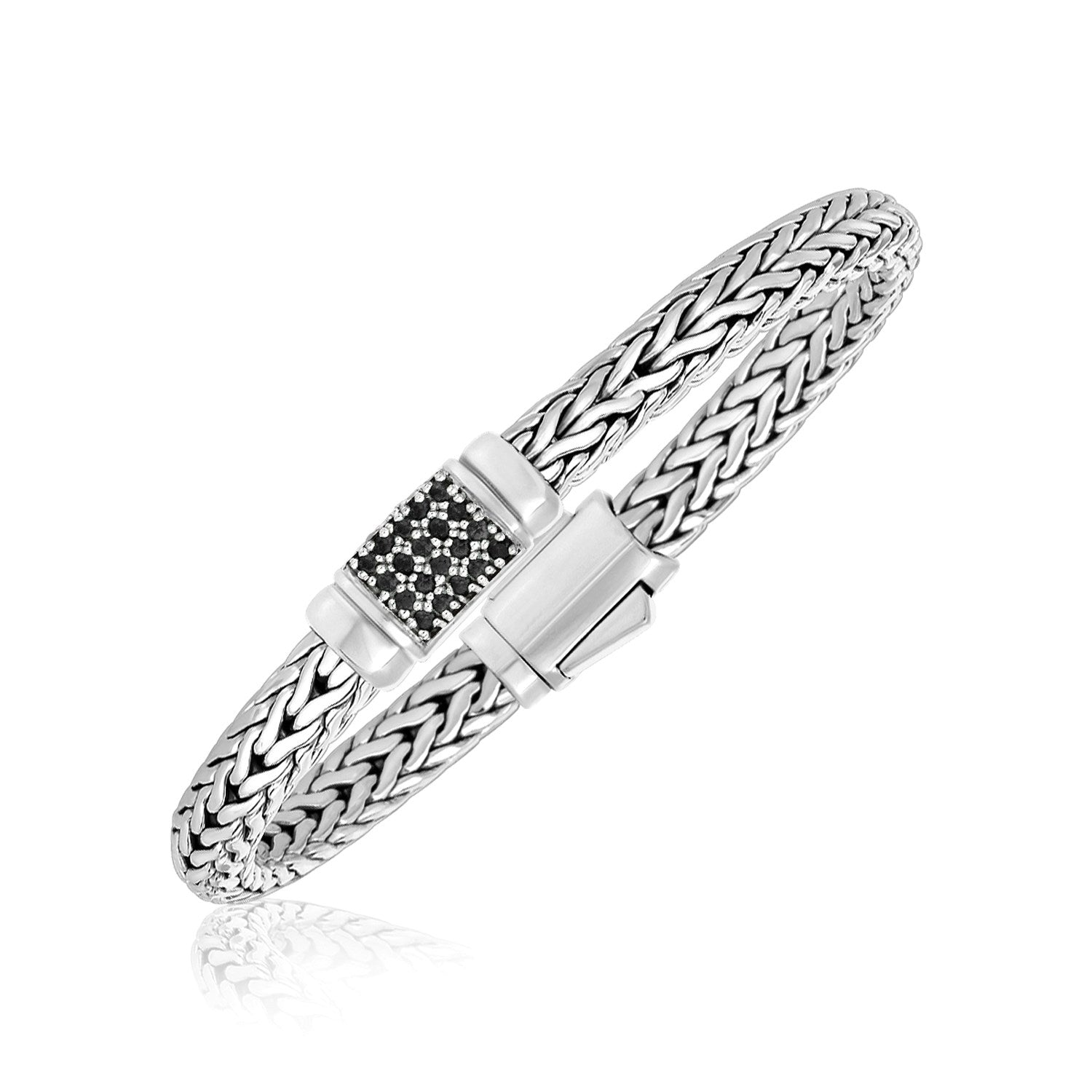 Sterling Silver Weave Style Bracelet with Black Sapphire Accents