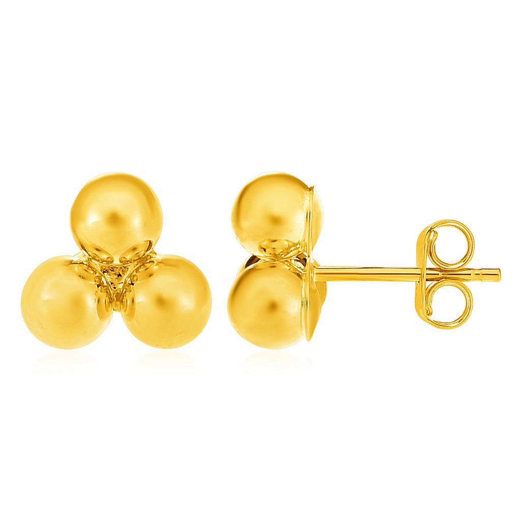 14k Yellow Gold Post Earrings with Three Spheres