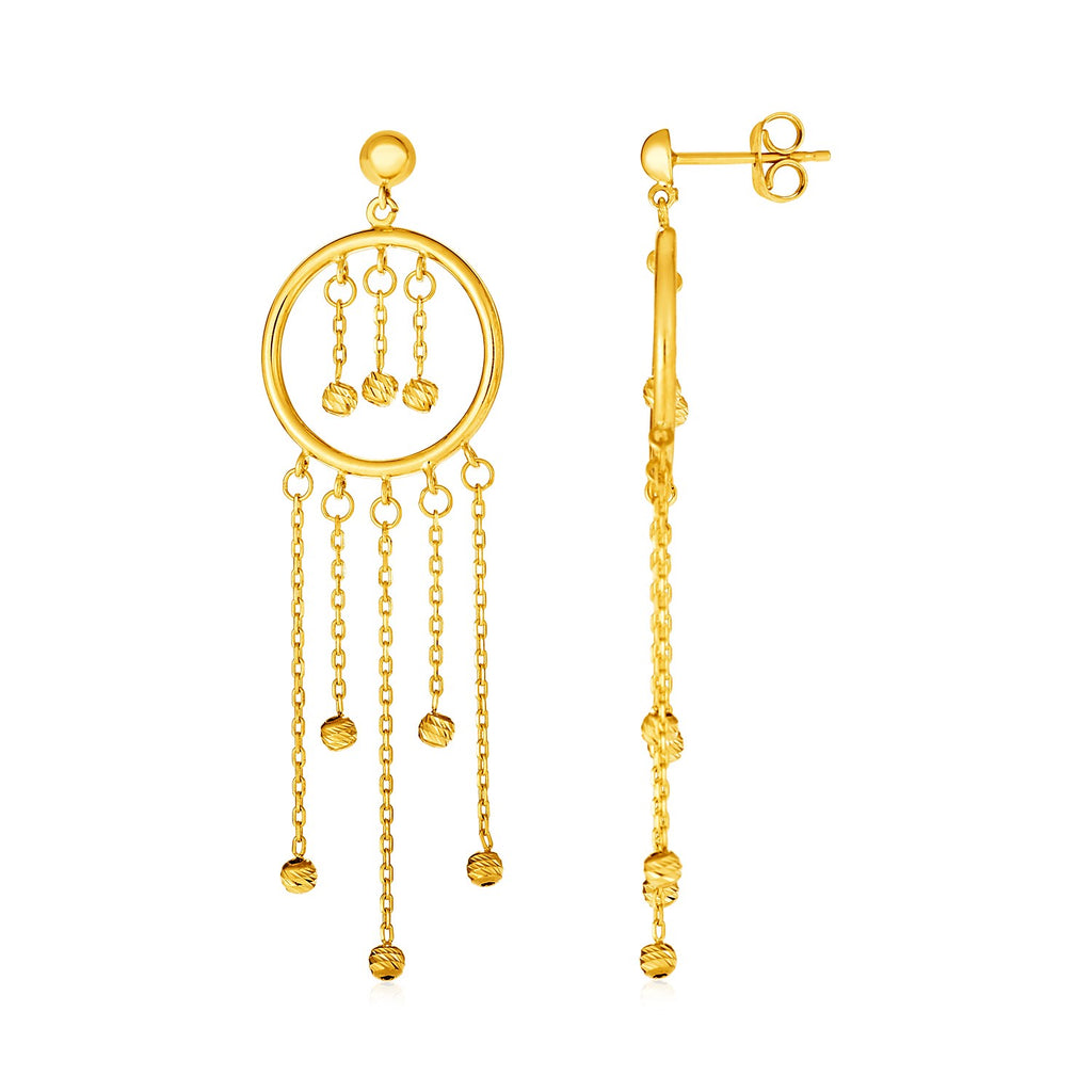 14k Yellow Gold Post Earrings with Circles and Round Bead Dangles
