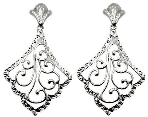 Antique Filigree Design Earrings designed with 92.5/Sterling Silver