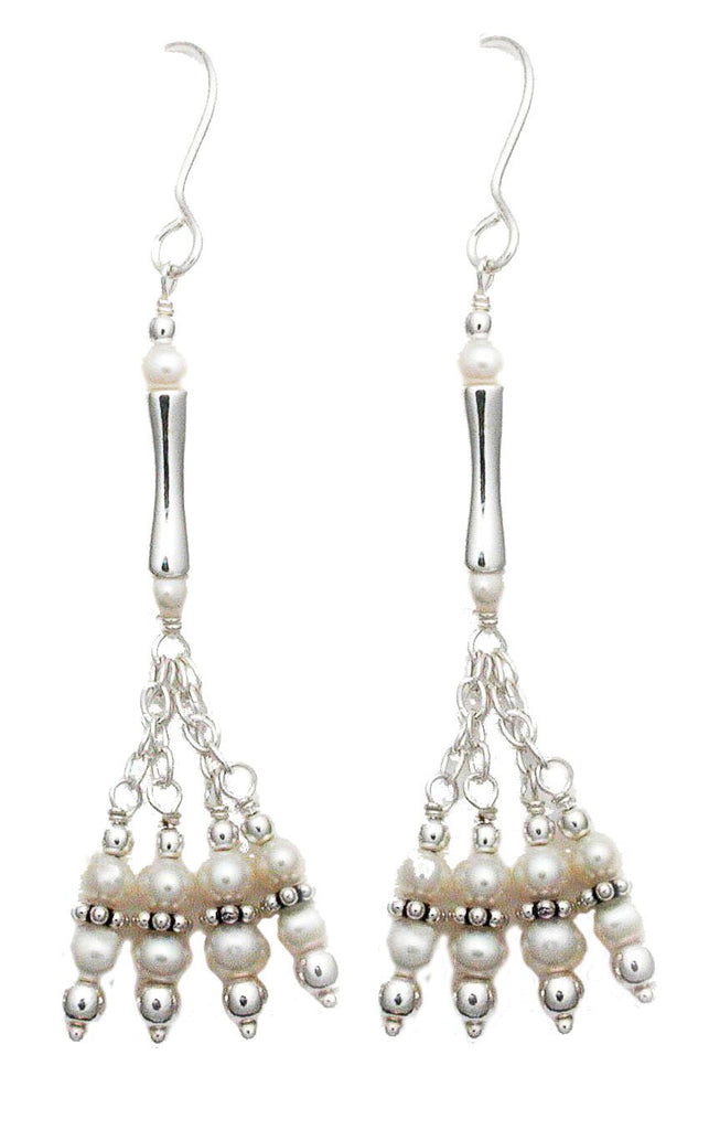 Fancy Freshwater Pearl Earrings with Petite Sterling Silver Beaded Chain (see matching necklace)