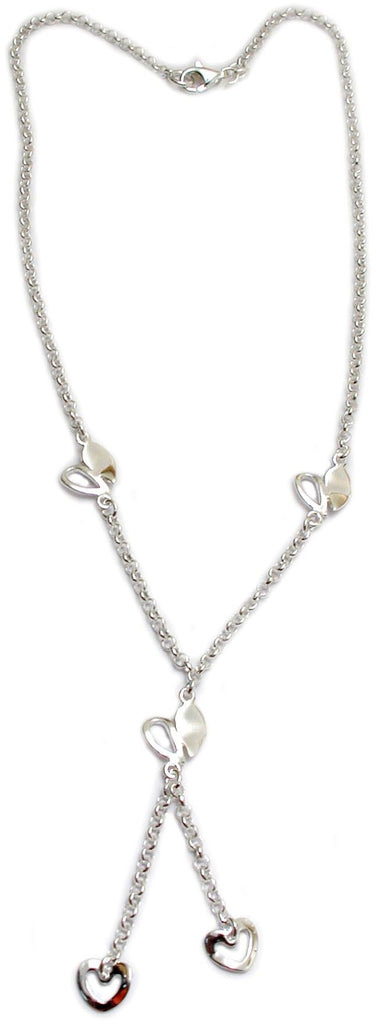 """Hearts in Flight"" Sterling/92.5 Silver Necklace with 18"" Drop"