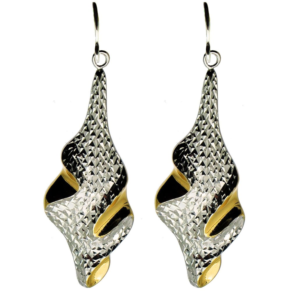 Sophisticated Diamond Cut Silver and Gold Earrings (See matching Pendant)