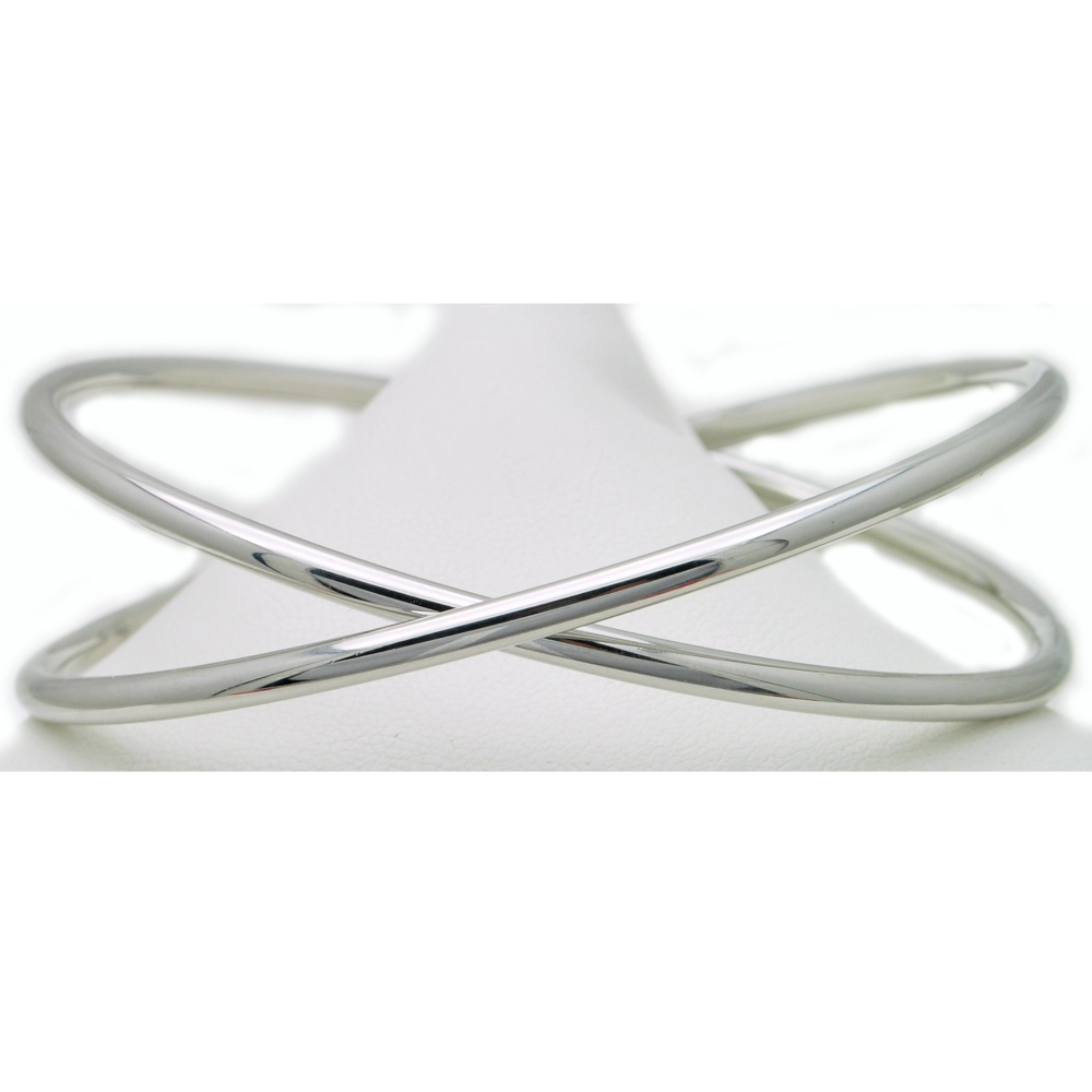 Criss Cross Sterling Silver Bangle Bracelet