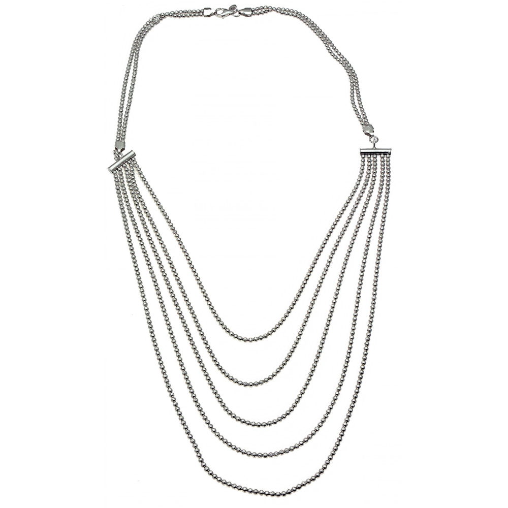 Beaded Sterling Silver Bib Necklace (see matching earrings and bracelet)