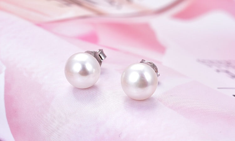 Free 7mm Freshwater Pearl Earrings with Rhodium Plated 92.5 Silver posts and Back