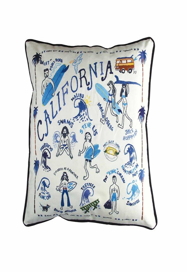 best coast embroidered pillow