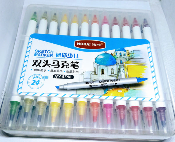 Sketch Marker 24 colours 2in1 (NY-8786)