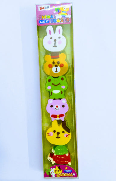 Fancy 6 Animal Erasers (YZ1337)