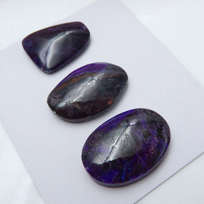 3 pcs Natural Sugilite Gemstone Cabochons, 24x17x5mm, 21x16x5mm, 11.4g - MyGemGarden