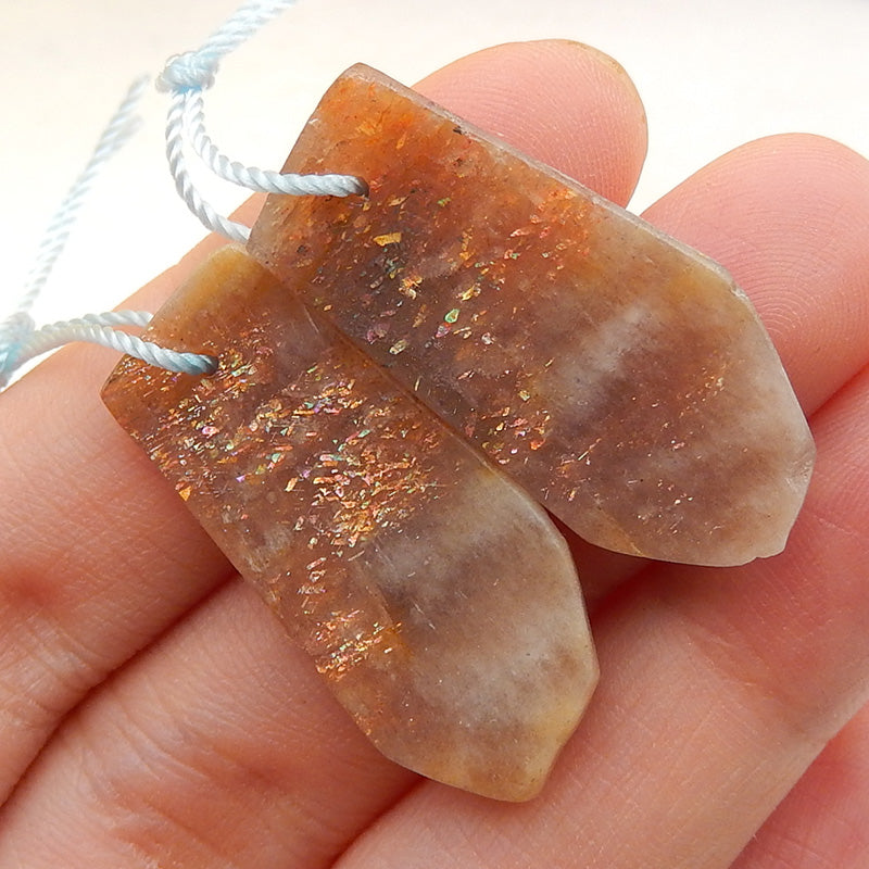 Sunstone Earrings Stone Pair, stone for earrings making, 29x14x3mm, 4.4g - MyGemGarden