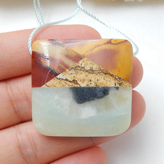 Natural Amazonite, Mookaite Jasper And Picture Jasper Drilled Glued Pendant Bead, 31x30x7mm, 15.2g - MyGemGarden