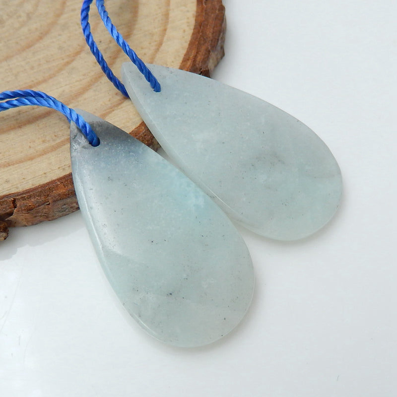 Natural Amazonite Teardrop Earrings Pair, stone for Earrings making, 30x15x4mm, 5.3g - MyGemGarden