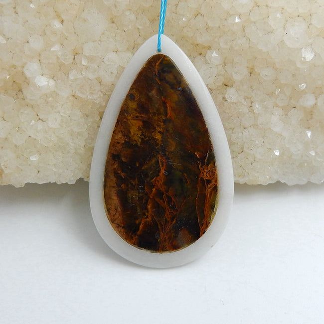 Natural White Jade and Green Opal Glued Teardrop Pendant Bead, 45x28x4mm, 8g - MyGemGarden