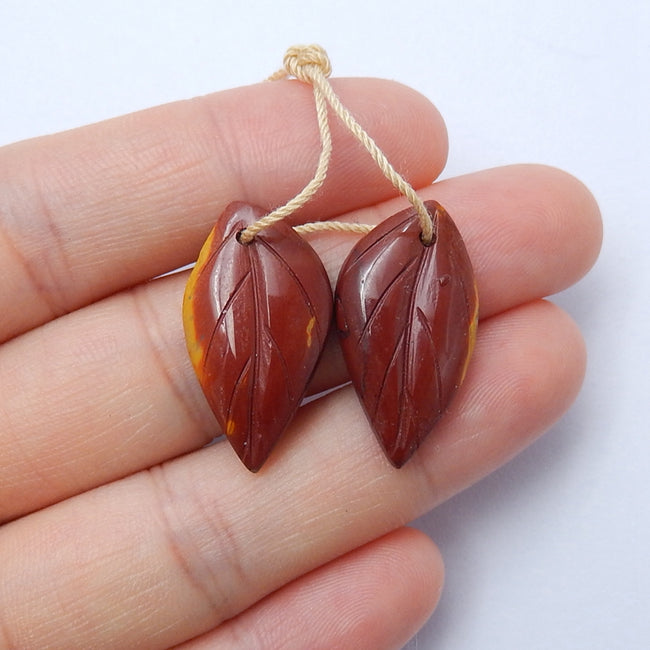 Hot sale Mookaite Jasper Carved leaf Earrings Pair, 24x13x4mm, 3.9g - MyGemGarden