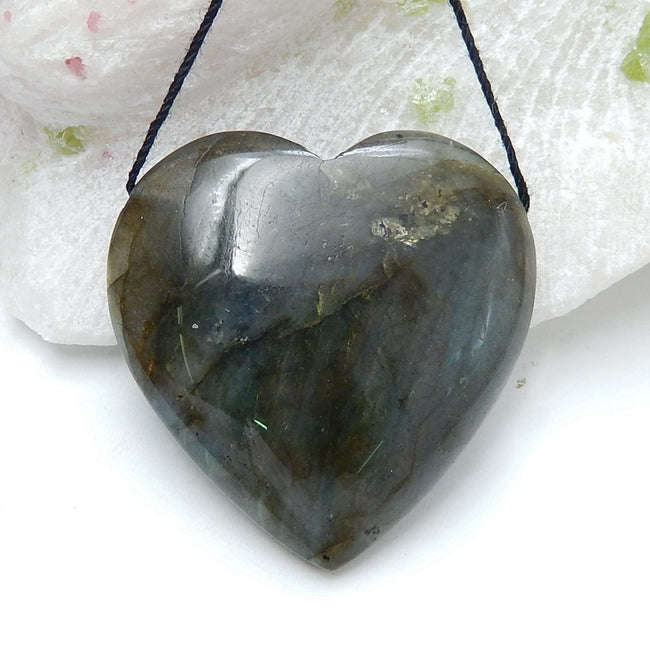 Hot sale Labradorite Heart Gemstone Pendant Beads, 40x40x13mm, 27.1g - MyGemGarden