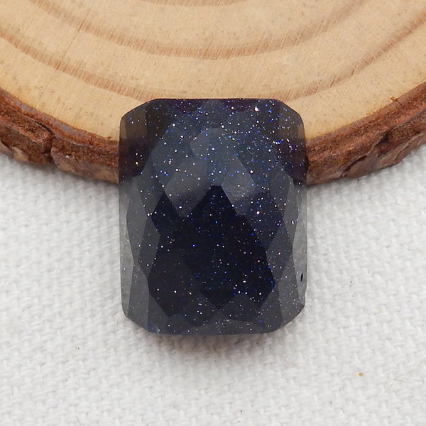 Jewelry Making Blue Goldstone Finger Rings Faceted Cabochons, 17x15x9.5mm, 3.1g