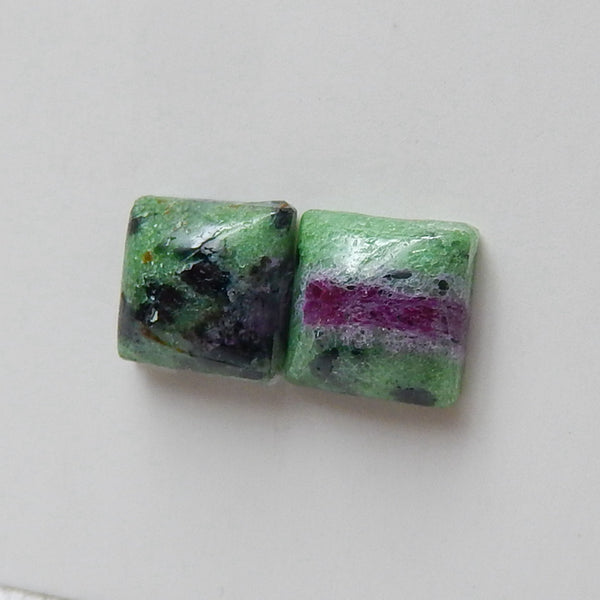 Natural Ruby And Zoisite Square Gemstone Cabochon Pair, 9x9x5mm, 2.9g - MyGemGarden