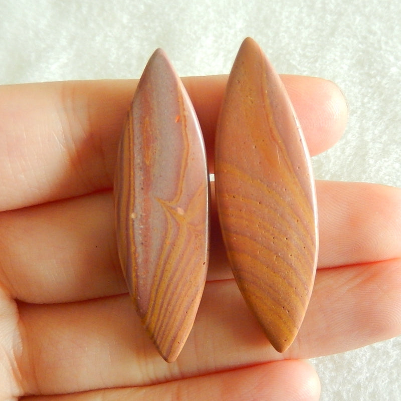 Natural Red Picture Jasper Cabochon 44x13x4mm,6.88g - MyGemGarden