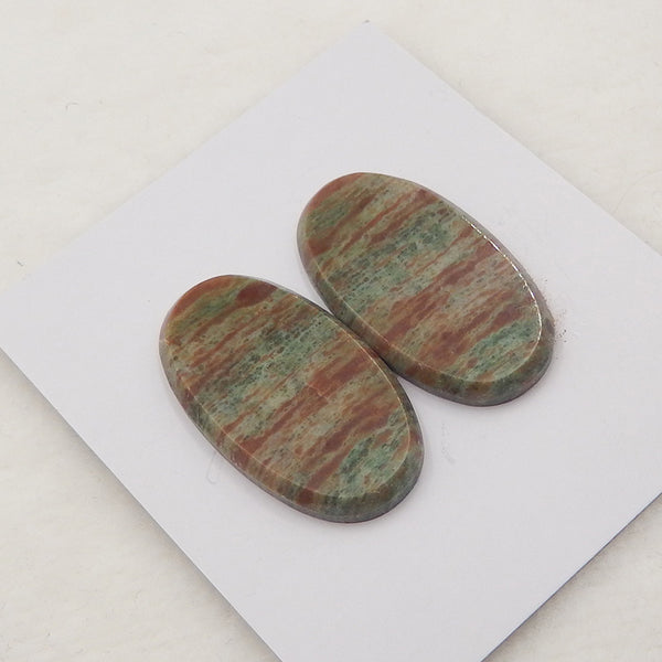 Oval Stripe Stone Gemstone Natural Cabochon Pair, 31x18x4mm, 8.0g