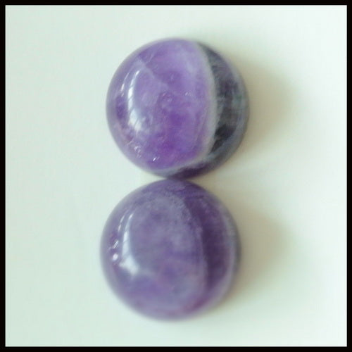 4pcs Natural Amethyst Gemstone 15mm Round Cabochons, 15x15x8mm,?5.7g - MyGemGarden