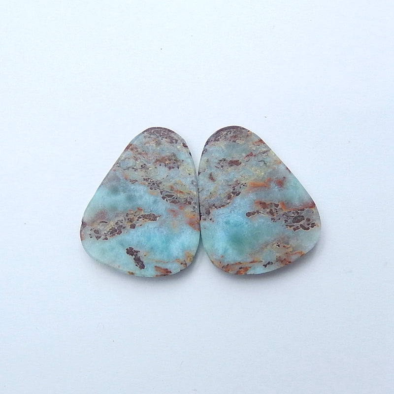Natural Blue Opal Pear Cabochon Pair, 29x22x5mm, 9.6g - MyGemGarden