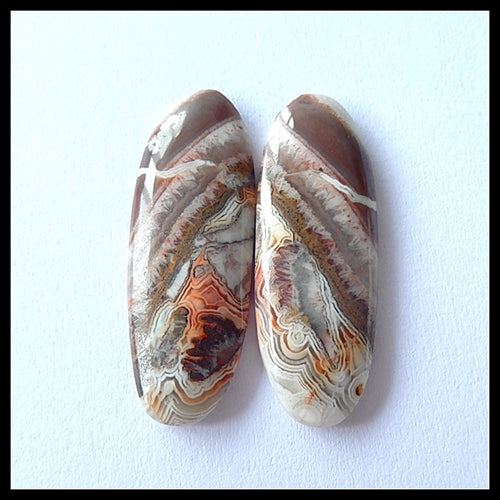 Natural Crazy Lace Agate Gemstone Cabochon Pair,31x11x4 MM - MyGemGarden